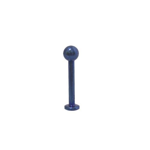 14 gauge Dark Blue Solid Titanium Labret Monroe with Ball -