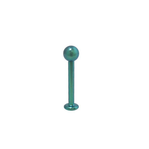 Green Solid Titanium 14 gauge Labret with Ball End