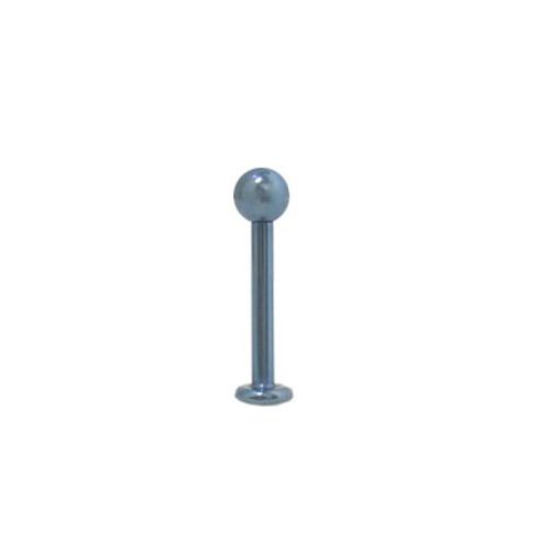 16 gauge or 18 gauge Solid Light Blue Titanium Labret Monroe with Ball