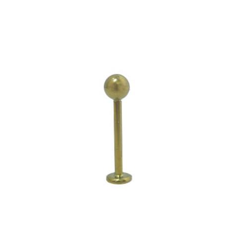 16 gauge or 18 gauge Gold Color Solid Titanium Labret Monroe with Ball