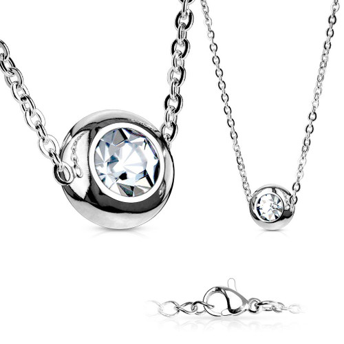Solitaire CZ Round 316L Stainless Steel Pendant with Chain