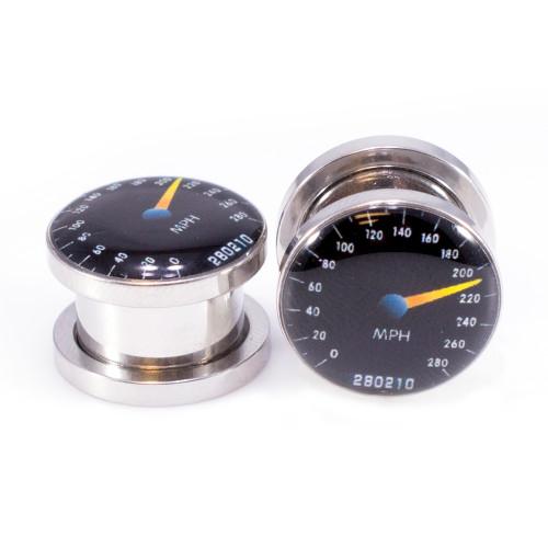 Pair of Screw-Fit Ear Plugs Speedometer Logo  Surgical Steel