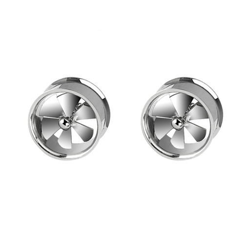 Pair of Spinning Fan Steel Gauges (0 gauge to 1inch)