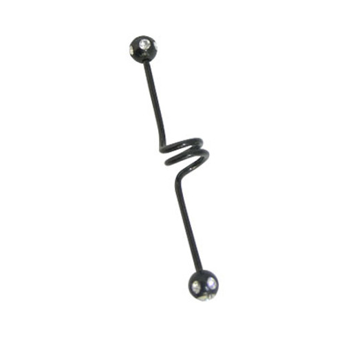 Spiral Anodized Titanium 14 gauge Industrial Barbell with Jewels