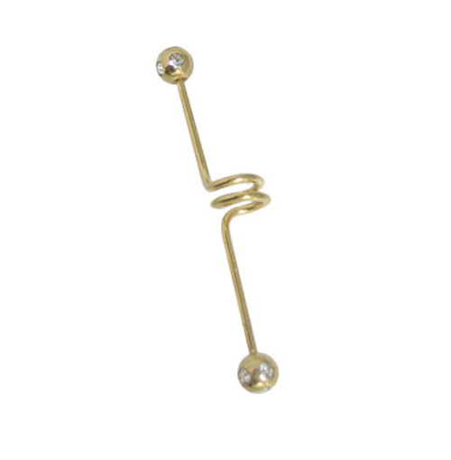 Gold Spiral Anodized Titanium 14 gauge or 16 gauge Industrial Barbell with Jewels