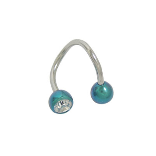 Spiral Twister Ring Surgical Steel with Titanium Jeweled Heads