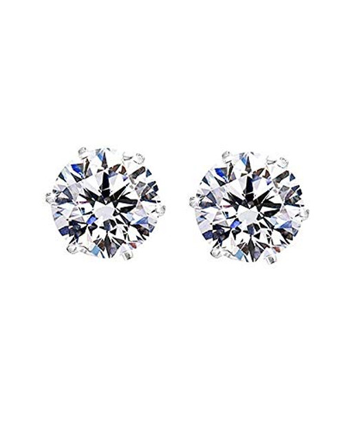 Pair of Steel Prong Set Cubic Zirconia Magnetic Earrings 6mm or 5mm
