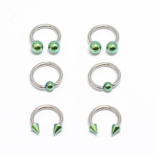 Captive Bead Ring 6pc Horseshoe Circular Barbell Anodized Green CBR Lip 16G 8MM