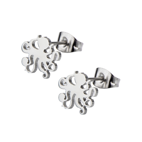 Octopus Ear Studs - Pair of Laser Cut Studs 22ga 316L Steel - Cartilage, Rook, Daith