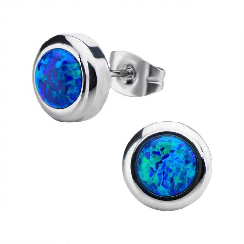 Pair of Women's Stainless Steel Bezel Set Black Synthetic Opal Stud Earrings