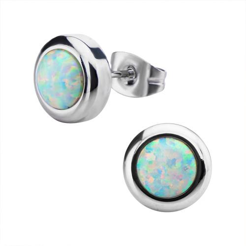 Pair of Women's Stainless Steel Bezel Set White Synthetic Opal Stud Earrings