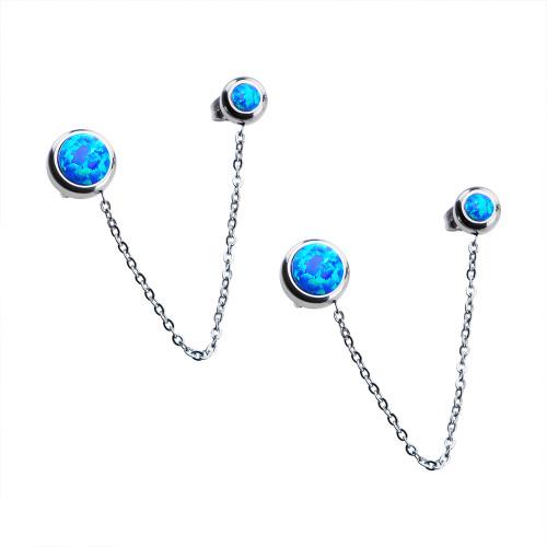 Pair Women's Stainless Steel Bezel Set Blue Synthetic Opal Double Stud Earrings