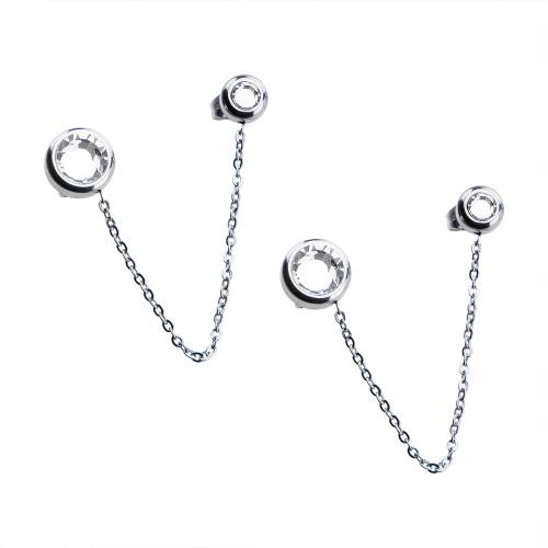 Pair of Women's Stainless Steel White Crystal Double Stud Earrings