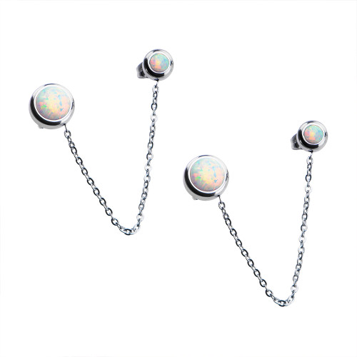 Pair Women's Stainless Steel Bezel Set White Synthetic Opal Double Stud Earrings