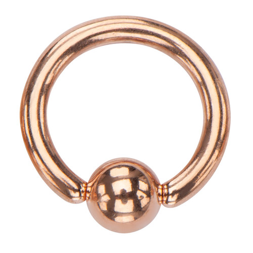 Stainless Steel Rose Gold Plated Captive Bead Ring