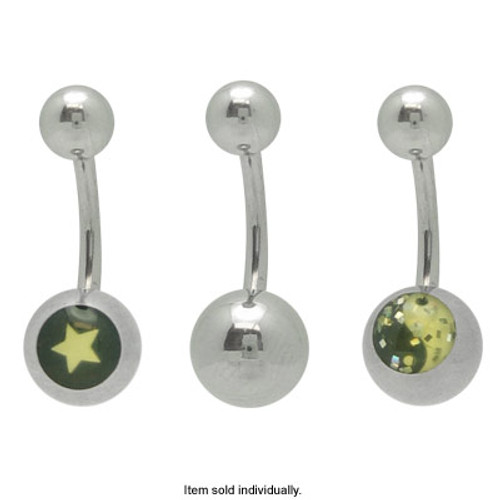 Star and Ying Yang Logo 14 gauge Belly Ring