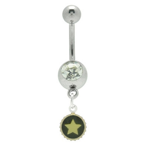 14 gauge Star Dangle Jewel Navel Ring