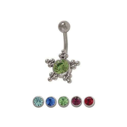 14 gauge Star Belly Button Ring with Jewel