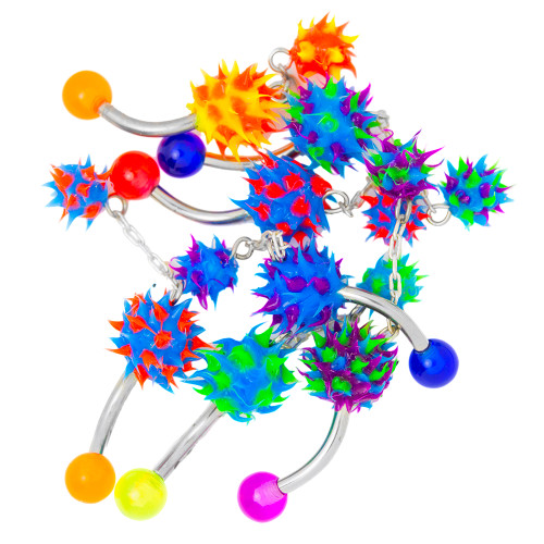 7 Pack Multi-Color Silicone Dangle Belly Ring - 316L Surgical Steel