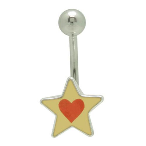 Star Heart Logo 14 gauge Belly Button Ring -