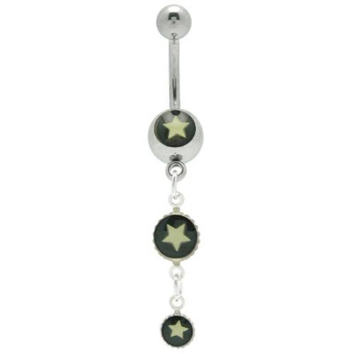 14 gauge Star Logo Dangle Belly Button Ring