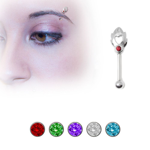 Sterling Silver Cut Out Heart Design Eyebrow Ring with Jewel