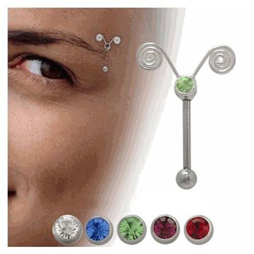Spiral Jeweled Eyebrow Barbell