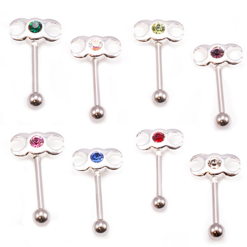 Sterling Silver Eyebrow Ring with Jewel