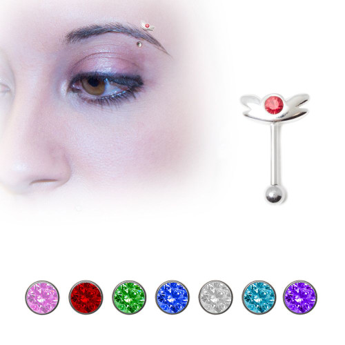.925 Sterling Silver Eyebrow Ring with Jewel