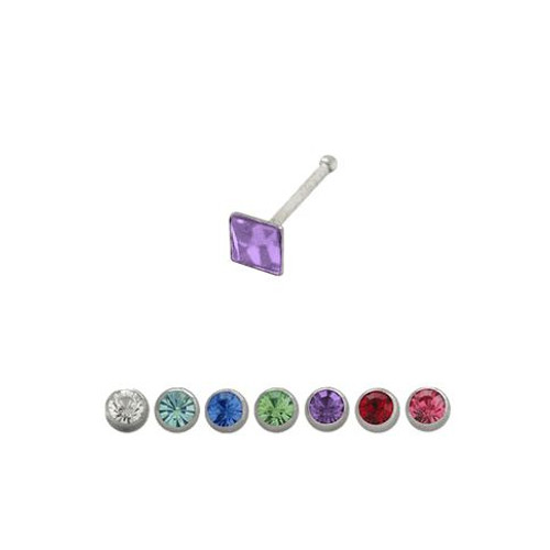 Sterling Silver Nose Stud with CZ Jewel 18g