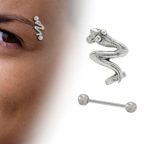 Sterling Silver Snake Design Eyebrow Shield - Out of Stock