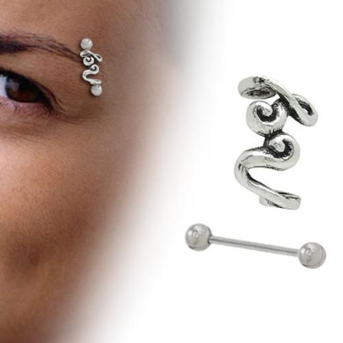Sterling Silver Unique Swirl Design Eyebrow Shield