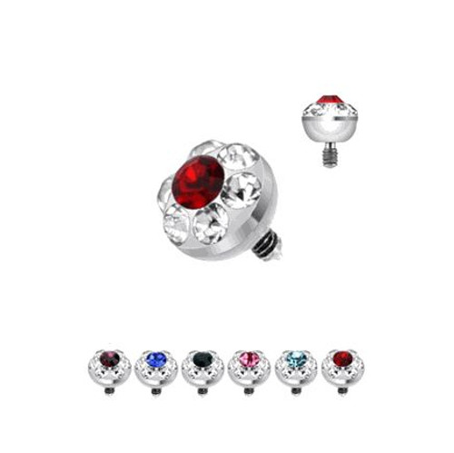 316L Surgical Steel Internally Threaded 4mm Multi Gem Ferido Micro Dermal Top - Out of Stock