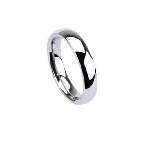 Stainless Steel Glossy Mirror Polished Traditional Wedding Band Finger Ring