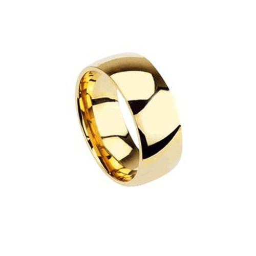 Stainless Steel Gold Plated Glossy Mirror Polished Stackable Traditional Wedding Band Finger Ring