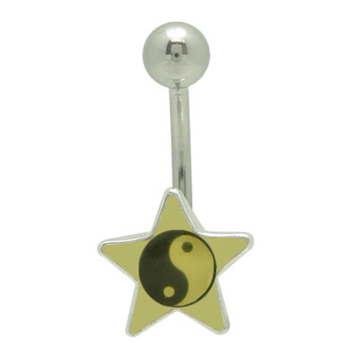 Star Ying - Yang Logo 14g Belly Button Ring
