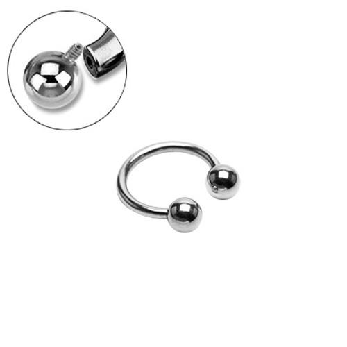 Surgical Steel Internally Threaded Horseshoe Circular Ring - HSI