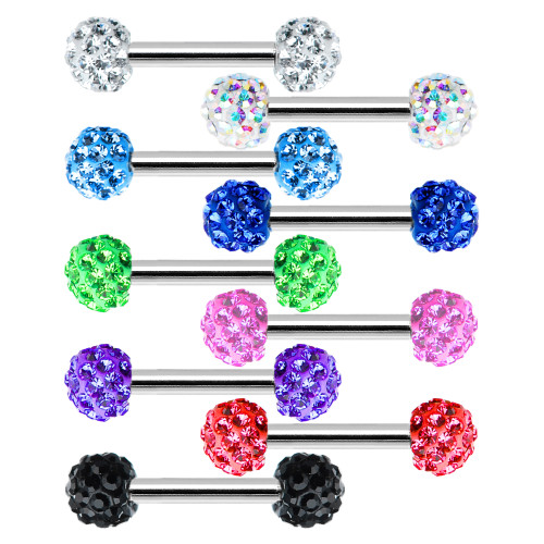 16ga Nipple Piercing Barbell w/ Ferido CZ Gem Ends - 316L Surgical Steel