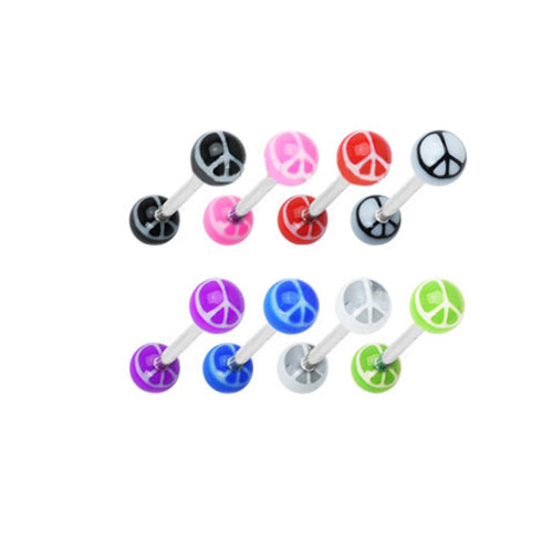 Surgical Steel Barbell Tongue Ring with UV Ball Peace Sign