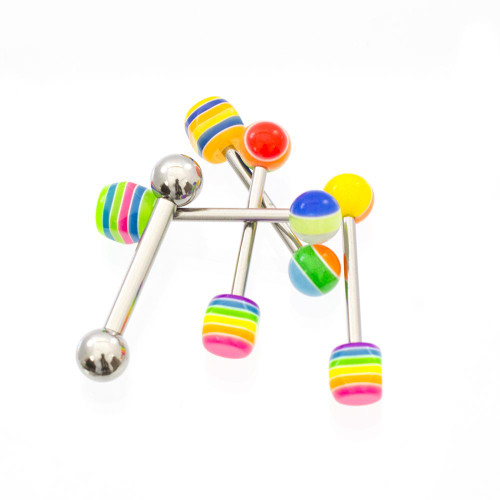 Pack of 4 Tongue Straight Barbells with Octagon Striped Acrylic Balls 14ga+ Free 10ga Straight Barbell