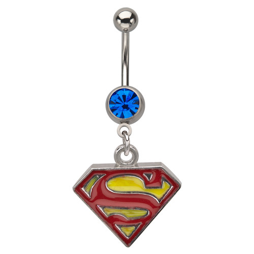 Surgical Steel Superman Dangle Belly Ring