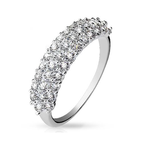 Half Circle CZ Gem Paved Sterling Silver Ring