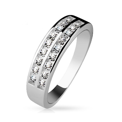 Sterling .925 Silver Ring with Double Row CZ Gems