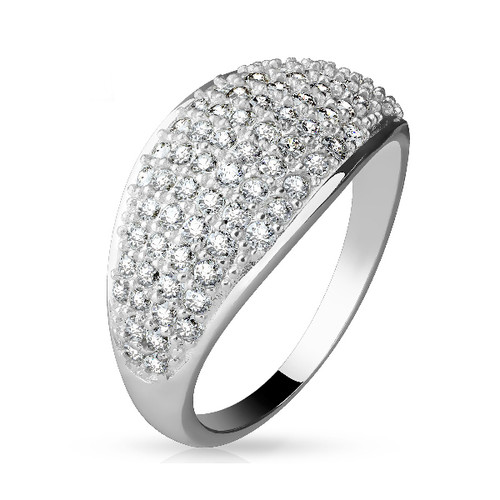 Half Dome Design Sterling Silver Ring with Paved CZ Gems