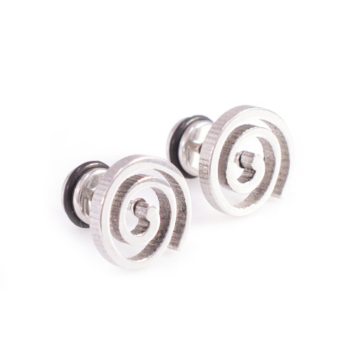 Pair of Silver Plated Spiral Brush Design Faux Plugs 16G