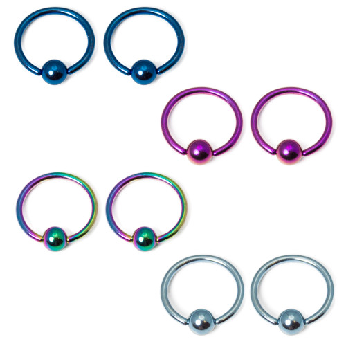 16 Gauge Anodized Titanium Captive Bead Ring