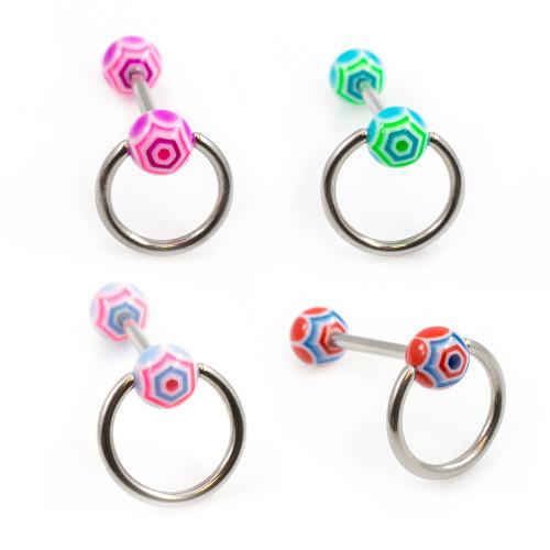 Acrylic Colorful Ball Door Knocker Design Tongue Barbell 14G