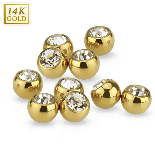 Yellow 14K Gold Replacement Balls with CZ Gem Sold Each
