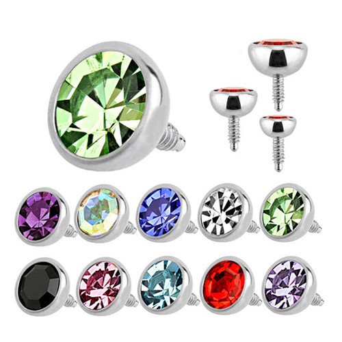 Internally Threaded 16G Surgical Steel with Round Press Fit Gem