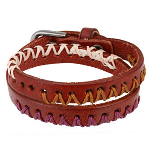 Three Tone Double Wrap Bracelet